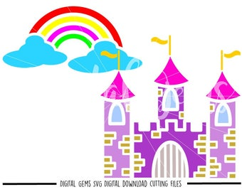 Castle and Rainbow svg / dxf / eps / png files. The files work well with Silhouette and Cricut. Digital Download. Commercial use ok.