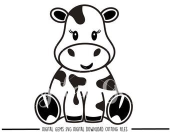 Cow svg / dxf / eps / png files. Digital download. Compatible with Cricut and Silhouette machines. Small commercial use ok