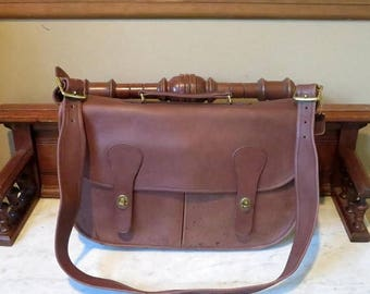 Back To School Sale Coach Carrier In Mocha Leather With Brass Hardware - Style No.9800- Made in The Factory In New York City- Spots On Front