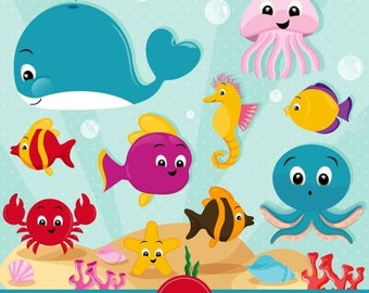 80% OFF SALE Ocean clipart, Sea animals clipart, Sea creatures, Marine life clipart, Ocean animals, Whale clipart -  CA434
