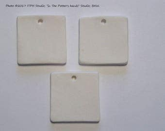 "3 pcs Square bisque 27mm. Just over 1"" Ceramic Blank Clay Diffuser pendant charm ornament gift tag Aromatherapy kids PYO DIY jewelry ITPH"