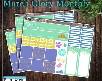 March Glory Monthly, Print & cut, SVG, FCM, ScanNCut, Silhouette, Cricut, Classic Happy planner