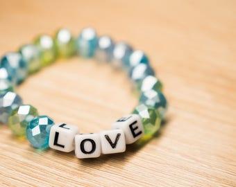 Baby Block Name Stretch Bead Bracelet