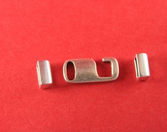 5b/1 MADE in EUROPE zamak flat hook clasp with 2 loop maker findings, 10mm flat cord hook clasp +loop maker piece (76969/10) Qty1 set