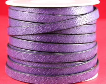 """MADE in EUROPE 24"""" flat leather cord, 10mm purple leather cord, 10mm embossed leather cord (499/10/06)"""