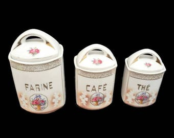 set of 3 french porcelain canisters 1930's, storage jars