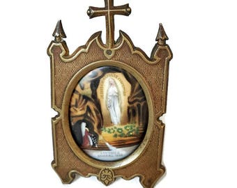 antique french Lourdes personal altar, religious shrine with porcelain medallion Lourdes, Christian frame