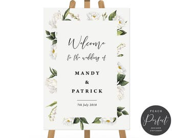 White Flower Wedding Welcome Sign, Printable Digital or Professionally Printed, Floral Wedding Poster, Mandy Suite