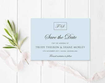 Blue and Charcoal Save the Date, Traditional Calligraphy, Monogram, Free Colour Changes - Commercially Printed - Peach Perfect Australia