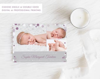 Digital Printable Birth Announcement Card, Digital Baby Thank You, Baby Girl Card, Photo Announcement, Free Colour Changes, Mauve or Pink