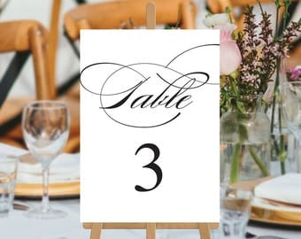 Wedding Table Numbers, Instant Download, Printable Digital Wedding, Black and White Calligraphy, Wedding Table Cards, Calligraphy Suite