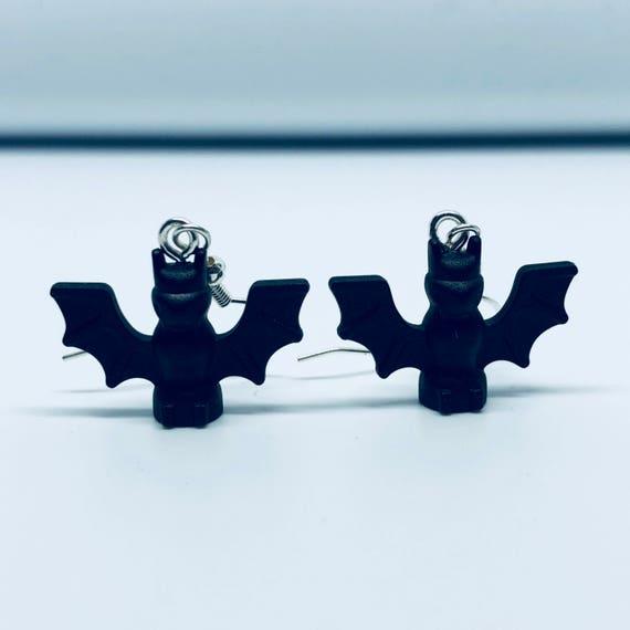 Lego Black Bat Dropdown Earrings