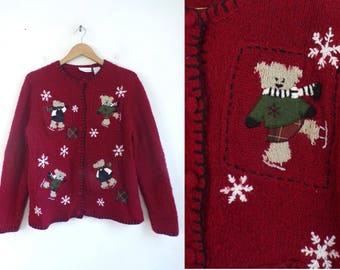 winter bear cardigan sweater 90s christmas holiday sweater red silk acrylic embroidered applique button down sweater womens jumper medium