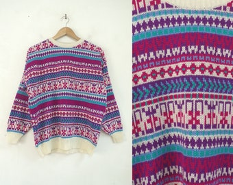 southwestern sweater 80s tribal sweater teal purple pink knit acrylic 1980s pullover crew neck sweater womens jumper medium