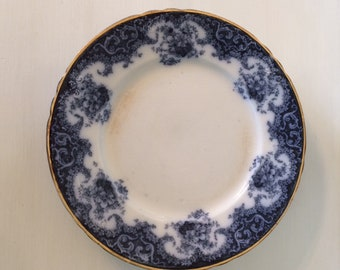 Wedgwood Navarre Plates, Royal Semi Porcelain Plates,  French Style Antique 1900s Plates, Prussian Blue and Gold Plates, Made in England