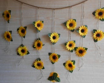 Sunflower wedding etsy sunflower wedding decor sunflower garland bridal shower decor silk flower garland bridal junglespirit Gallery
