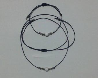howlite blue cord parure necklace + bracelet adjustable valentine birthday boho gift for her macrame minimal silver coloured beads