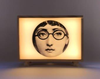 Fornasetti, Lightbox, lightbox. Wooden lamp, lamp table, collage, gift, Lina Cavalieri. #Fornasetti