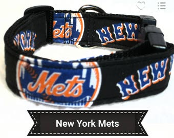 """New York Mets Dog Collar, Dog Collars, Side Release Dog Collar, Small Dog Collar, Large Dog Collar, Dog Collar, 1"""" & 1.5"""" Inches Wide"""