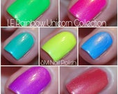 LE Rainbow Unicorn Collection/ SM Nail Polish/ Neon/ Shimmers/5 Free Handmade