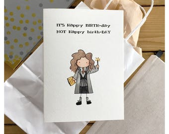 Hermione Birthday Card // hermione, harry potter birthday card, harry potter card, harry potter birthday gift, funny Harry Potter card, hp