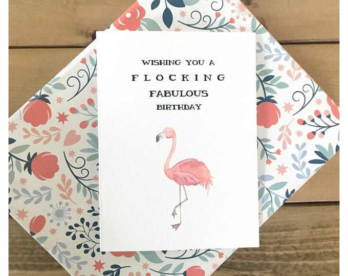 Featured listing image: Flocking Birthday // flamingo birthday card, flamingo card, flamingo, birthday card, funny birthday card, flocking fabulous, funny card, pun