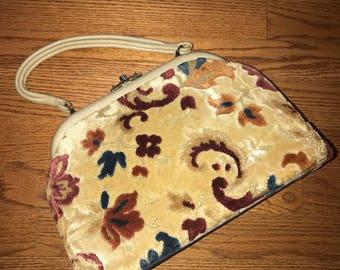 Vintage 60's Carpet Frame Bag