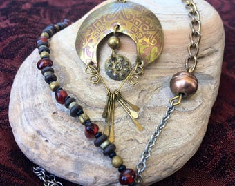 Crescent Moon Necklace with Mixed Metals Upcycled Materials