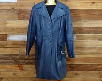 Vintage navy leather coat - Blue trench - 70s leather coat - Small Medium