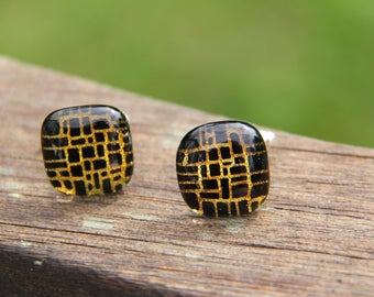 Gold dichroic glass cuff links,  fused glass, gold and black fused glass cuff links, dichroic cuff links , gold dichroic, dichroic cufflinks