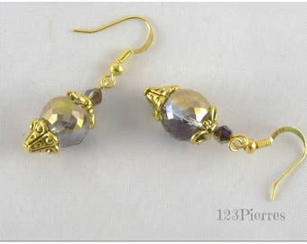 Short Crystal metallic gold and purple - 123Pierres jewelry earrings