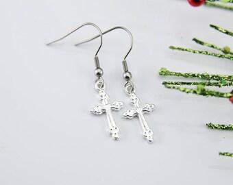 Clothing Gift Cross Earrings Cross Charm Earrings Silver Cross Charm Cross Jewelry Dangle Earrings Christmas Gift