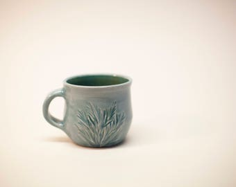 blue mug, coffee mug, teal lined mug, ceramic mug, coffee cup, tea cup, carved cup, ceramic cup