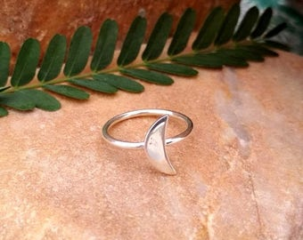 On Sale 925 Sterling Silver - Half Moon Ring - Simple Silver Ring - Silver Jewelry - Gift For Her