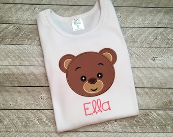 Teddy Bear shirt for girls - Teddy bear birthday - Bear birthday shirt - Toddler Girl clothes - Embroidered shirt for girls - Bear shirt