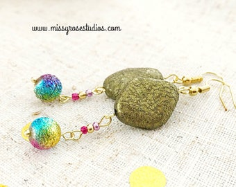 rainbow boho earrings, gold boho earrings, lightweight drop earrings, jewelry handmade, shiny earrings, earrings handmade, earrings funky