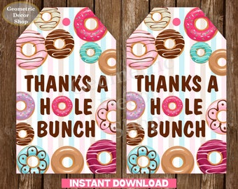 INSTANT DOWNLOAD Donut Favor Tags Tags Donut Birthday Thank you tags Doughnut Birthday Favour pink Donut party hole bunch PRINTABLE teal DN4