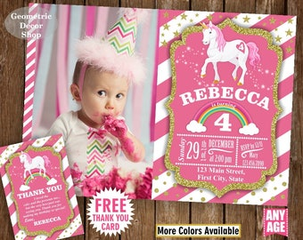 Unicorn Birthday Invitation , Pink Invitations , Girl Invite , Pink Invites , Magical Day , Rainbow , Birthday Photo , Gold Glitter BDU16/13