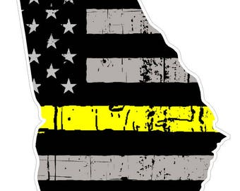 Georgia State (E11) Thin Yellow Line Dispatch Vinyl Decal Sticker Car/Truck Laptop/Netbook Window