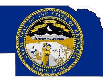 Nebraska State (Q28) Shape Flag Vinyl Decal Sticker Car/Truck Laptop/Netbook Window