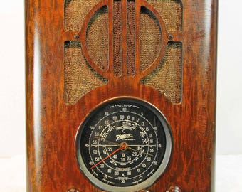 ZENITH Radio  model  6-S-229 tombstone tube radio with AM-SW and mini-jack installed---Bluetooth available
