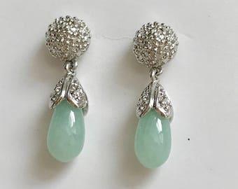 Vintage Sterling Silver Green Jade Drop Earrings