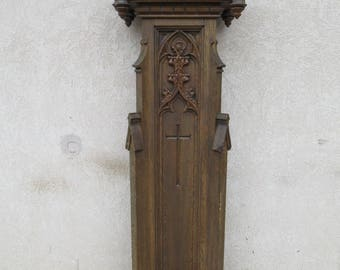 Antique Victorian Gothic Tiger Oak Carved Church Podium Lectern