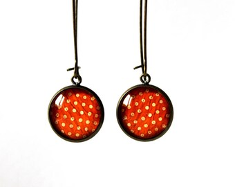 Large Stud Earrings 14mm cabochon glass Orange with polka dots