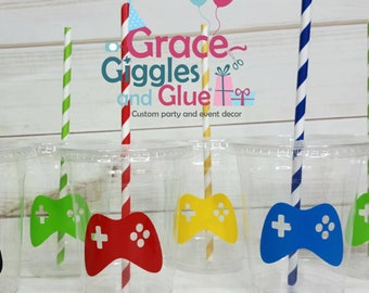 12 Video Game Themed Party Cups with Straws and Lids