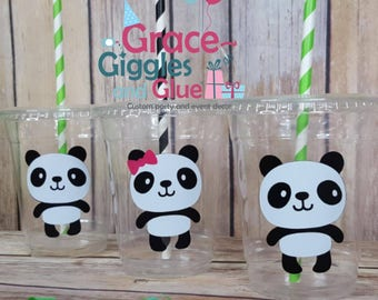 12 Panda Party Cups with Straws and Lids!