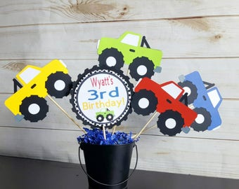 5pc Personalized Monster Truck Themed Centerpiece, Truck Centerpiece, Monster Truck Cake Toppers