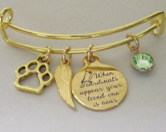 "GOLD"" When Cardinals Appear Your Love One Is Near ""W/ Birthstone  / Feather / Paw BANGLE - Lost Of A Pet  - Personalize  Gift For Her Usa G1"
