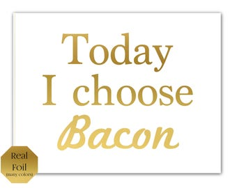 Bacon print kitchen art, Gold Wall Art, Bacon gift, Gold Foil Print, bacon art, Gold print, bacon lover, bacon wall art, meat, gold wall art