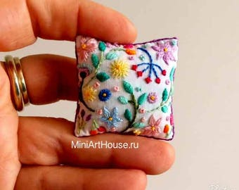 Miniature pillow. Hand embroidery